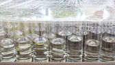 Many water drinks on buffet table, catering, wating serv — Stock Photo