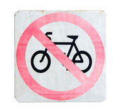 No cycling sign with pink color on white background — Stock Photo