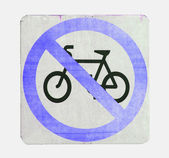 No cycling sign with blue color on white background — Stock Photo