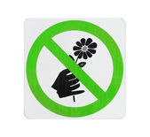 Do not pick flower sign,green cycle color — Stock Photo