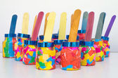 Wooden ice cream in Glass bottles Artificial with multicolor pap — Stock Photo