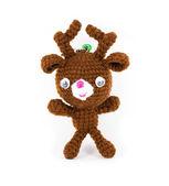 Handmade crochet brown deer doll on white background — Stock Photo