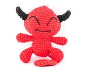 Handmade crochet red devil doll on white background — Stock Photo