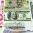 Assorted international paper money close up — Stock Photo