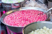 Thai dessert red sweet ruby framework in stainless steel bowl on — Foto de Stock
