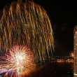 Happy New Year fireworks night scene, bangkok cityscape river vi — ストック写真