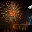 Security camera monitoring the happy new year fireworks night sc — Stock Photo