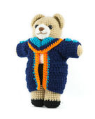 Handmade crochet teddy bear doll with graduation gown on white b — Stock Photo