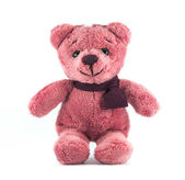 Hand made TEDDY BEAR red color with scarf on white background — Stockfoto