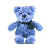 Hand made TEDDY BEAR blue color with scarf on white background — Stock Photo