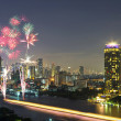 Stock Photo: Fireworks with bangkok cityscape river view at twilight scene, t