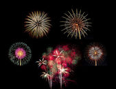 Summary of big Beautiful  Fireworks for celebration — Stock Photo
