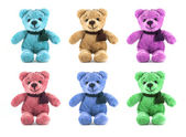 Set of six color TEDDY BEAR with scarf on white background — Zdjęcie stockowe