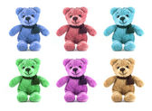Set of six color TEDDY BEAR with scarf on white background — Stock Photo