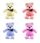 Set of four color TEDDY BEAR with scarf on white background — Stockfoto