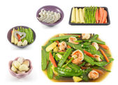 Collage of Stir fried mix vegetables with shrimp — Stock Photo