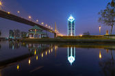 The RAMA nine Bridge with cityscape at twilight, bangkok, thaila — 图库照片