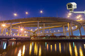 Security camera monitoring the Bhumibol Bridge with river at twi — Stock Photo