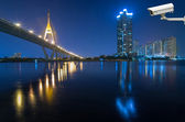 Security camera monitoring the Bangkok cityscape river view with — Stock Photo