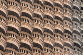 Close up pattern photo of balconies of the state tower, built in — 图库照片