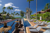 KHAOLAK, THAILAND - NOV 3 : Architecture exterior with swimming pool of the SENTIDO Graceland Khao Lak Resort & Spa.is located 90 kilometres north of Phuket, on November 3, 2013 in Khaolak, Thailand — Stock Photo