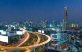 Elevated highway The curve of the bridge in Bangkok cityscape — Stock Photo