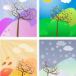 Stock Vector: Seasonal trees