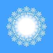 Snowflakes in a circle on blue background — Stock Vector