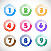 One to nine vector buttons — Stock Vector