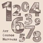 Vector grunge scratched numbers. — Vector de stock