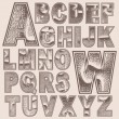 Grunge scratched alphabet set — Stock Vector