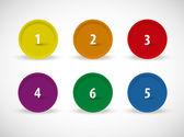 En till sex vektor färg-knappen — Stockvektor