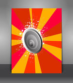 Poster with rays and speakers — Stock Vector