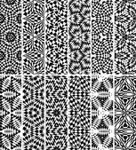 Set seamless decorative geometric pattern, vector — Stock Vector