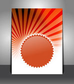 Flyer with badge on sunrays background — Stock Vector