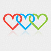 Design associated three Hearts on white glittering background — Vecteur