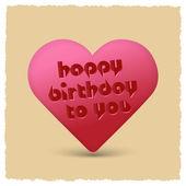 Happy birthday retro Heart — Stock Vector