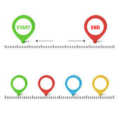 Vector timeline with buttons — Stock Vector