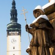 Town Hall Tower and Statue on Plague Column in Square in Litovel — Stock Photo #36896889