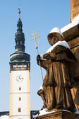 Town Hall Tower and Statue on the Plague Column in the Square in Litovel — Stock Photo