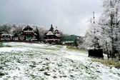 Spring snow in the holiday resort Pustevny — Stock fotografie