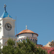 Church tower with clock in the Greek city Pythagoreio — Stock Photo
