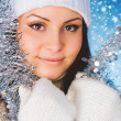 Christmas Teenage Girl in  Studio — Stock Photo