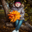 Autumn portrait of cute smiling little girl with maple leaves — Stock Photo