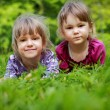 Two young smiling girls in the grass — Stock Photo #35433491