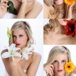 Composition of beautiful girl with various flowers — Stock Photo
