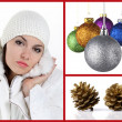 Stock Photo: Woman with christmas balls and pine cones