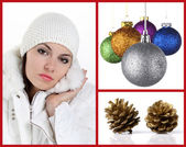 Woman with christmas balls and pine cones — Stock Photo