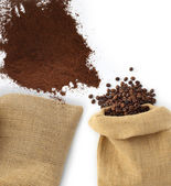 Beans and coffee powder with bag — Stock Photo