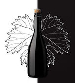 Sparkling wine with grape leaf on white and black background — Stock Photo